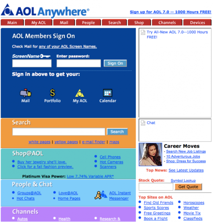 aol vintage 730x761 Websites through the ages: Tracking AOL, Yahoo and ESPN across time
