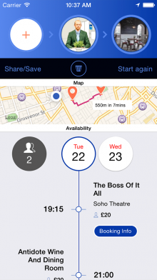 b Timista Bespoke timeline 220x392 Looking for things to do in London? Timistas smart planner for iPhone has you sorted