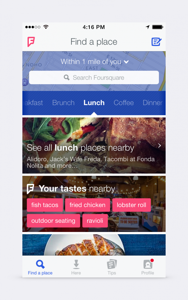 blog homescreen 730x1161 Foursquare reveals a new logo and previews its overhauled discovery app