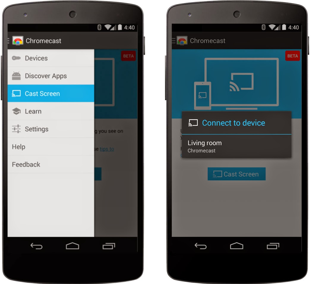 Mirror your android phone and tablet on chromecast for Mirror screen