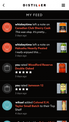 distiller activity feed 220x390 Distiller is now a social network for whisky lovers