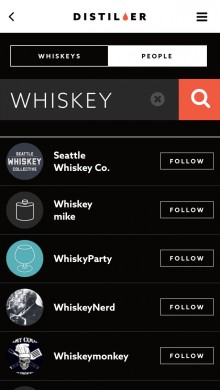 distiller search people list 220x390 Distiller is now a social network for whisky lovers