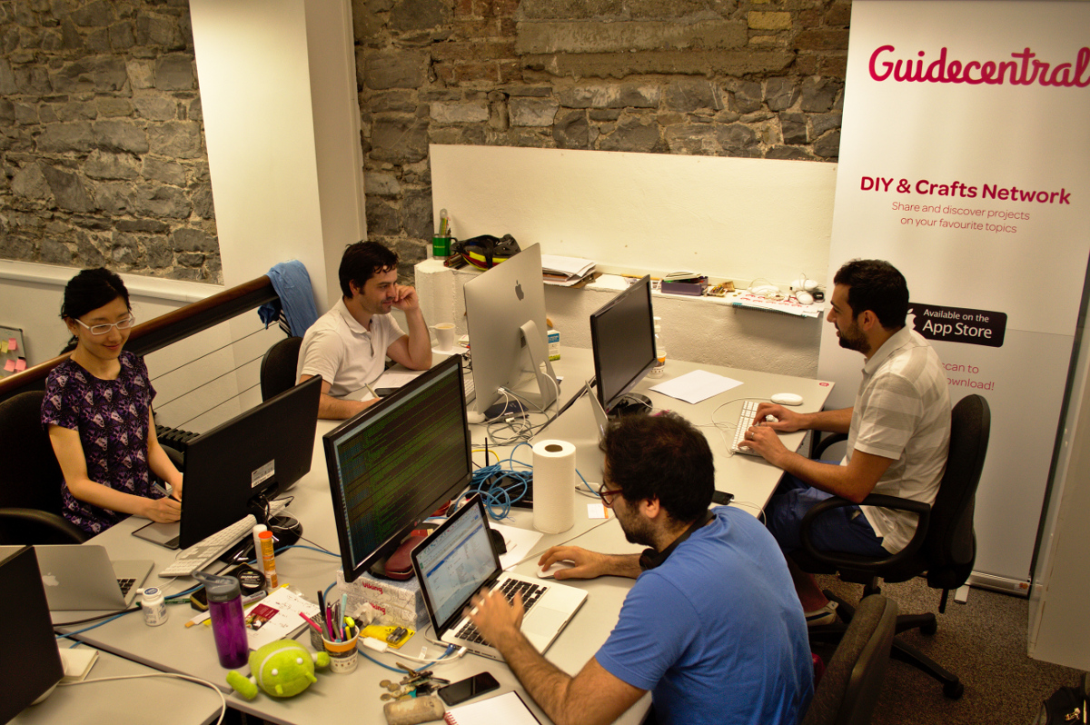 Guidecentral's corner in Dogpatch Labs, startup coworking space in Dublin