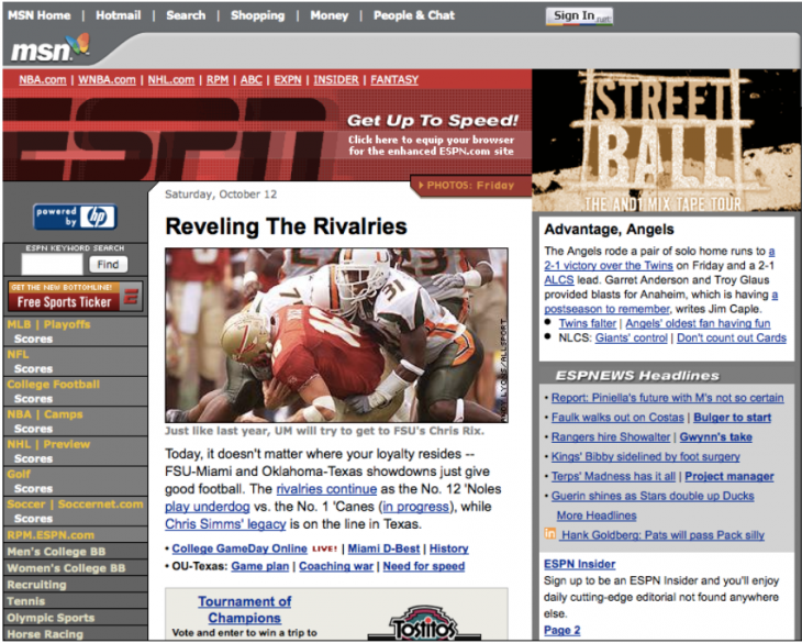 espn vintage 730x585 Websites through the ages: Tracking AOL, Yahoo and ESPN across time