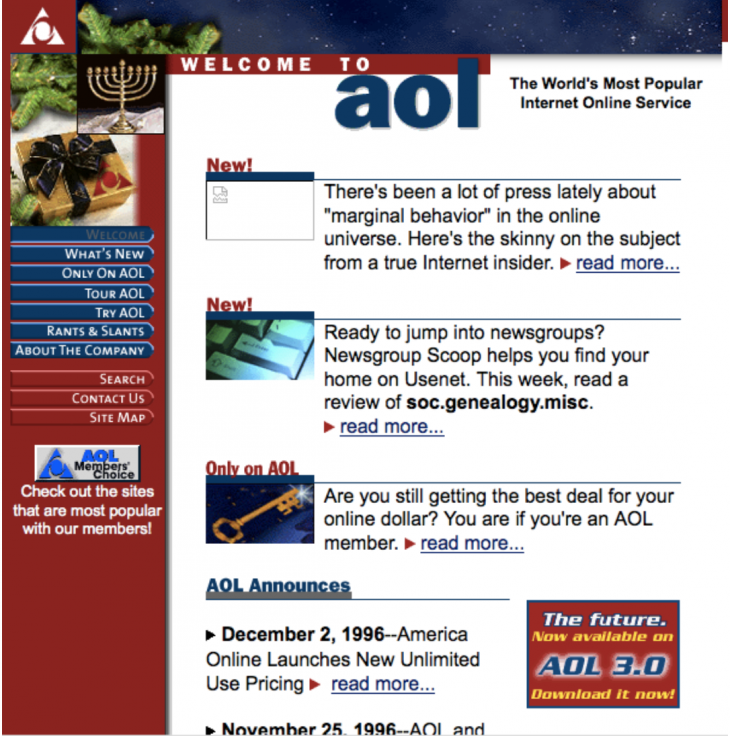 first aol 730x736 Websites through the ages: Tracking AOL, Yahoo and ESPN across time
