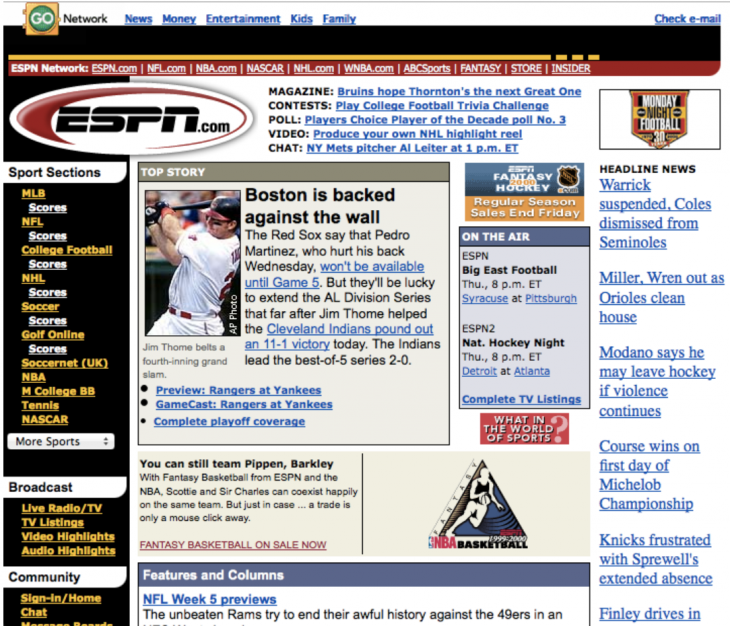 first espn 730x626 Websites through the ages: Tracking AOL, Yahoo and ESPN across time