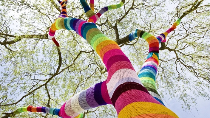 germany guerilla knitting colorful tree visual stage 11 of the hottest startups from Tech Open Air Berlin 2014