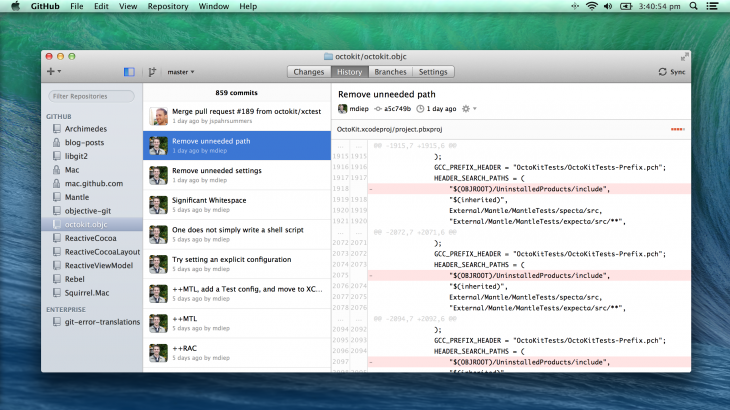 gh 730x410 GitHub for Mac simplified with a focus on faster navigation