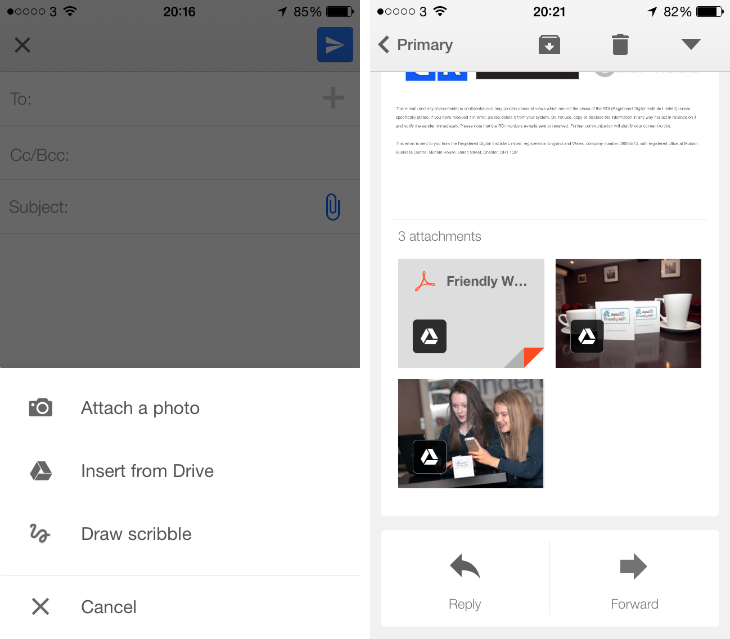 gmail1 Google updates Gmail for iOS with the option to save and insert attachments from Drive