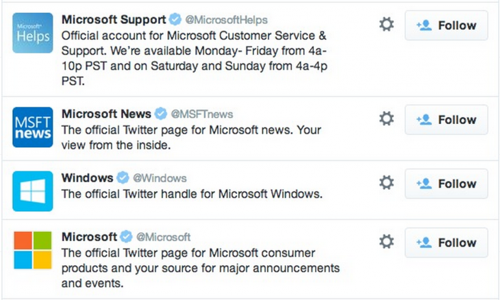 microsoft twitter accounts 730x438 5 strategies behind awesome customer service on social media
