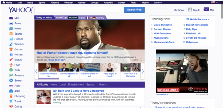 new yahoo homepage 730x362 Websites through the ages: Tracking AOL, Yahoo and ESPN across time