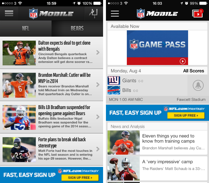 nflmobile1 NFL Mobile for iOS gets a much needed redesign ahead of the new football season