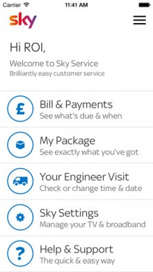 UK satellite broadcaster BSkyB now lets you manage your account on the move with a dedicated mobile app