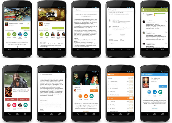 store 4.9.13 Google is rolling out a new Material Design inspired version of Google Play for Android
