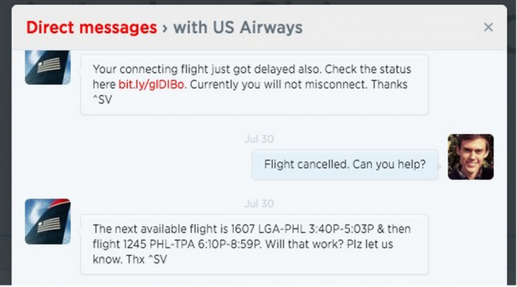 us airways twitter customer service 730x405 5 strategies behind awesome customer service on social media