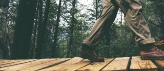 walking on wood board