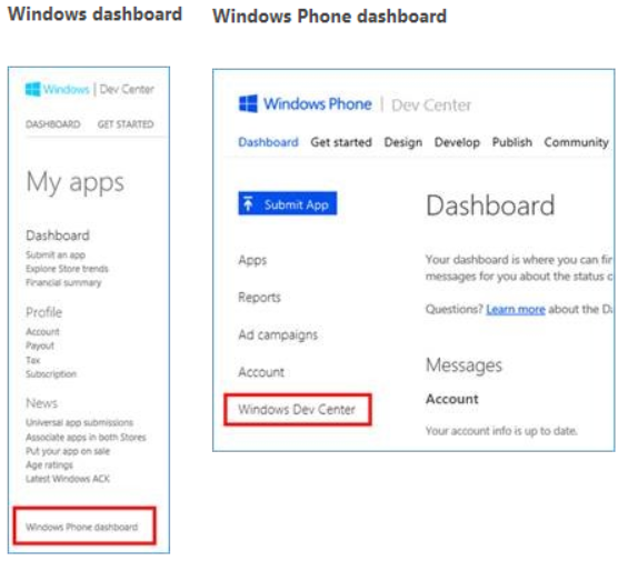 windows dashboards Microsoft merges developer resources for Windows Store and Windows Phone, adds 21 new payout markets