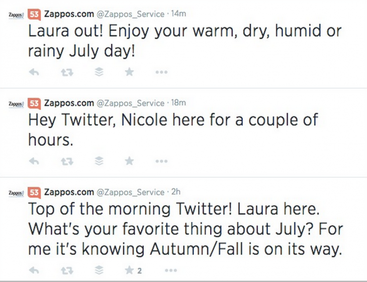 zappos twitter 730x560 5 strategies behind awesome customer service on social media