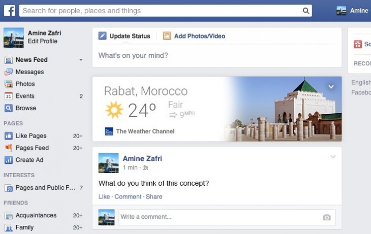 This beautiful Facebook Cards concept is inspired by Google Now