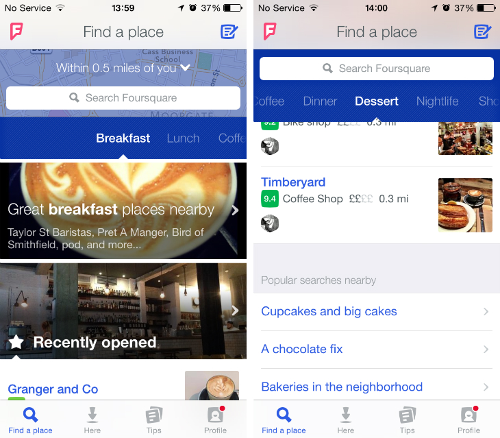 4sq2 Foursquare launches its redesigned mobile app focused on location based recommendations