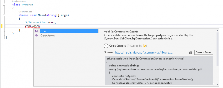 5282.BingDeveloperAssistantforVisualStudio Screenshot1 730x290 Microsofts Bing Developer Assistant for Visual Studio helps developers quickly find code snippets and samples