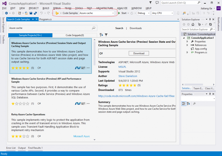 6254.BingDeveloperAssistantforVisualStudio CodeSamplesScreenshot 730x514 Microsofts Bing Developer Assistant for Visual Studio helps developers quickly find code snippets and samples