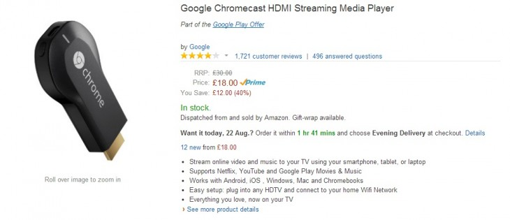 Chromecast amazon 730x315 Google Chromecast now costs just £18 in the UK following 40% price cut by retailers