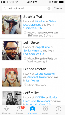 HUMIN search 220x390 Humin: A super smart way to manage contacts on your iPhone, and it launches today