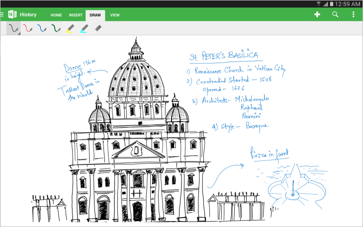 Inking with OneNote 1 730x457 Microsoft updates OneNote for Android with support for tablets, handwriting, and new formatting options