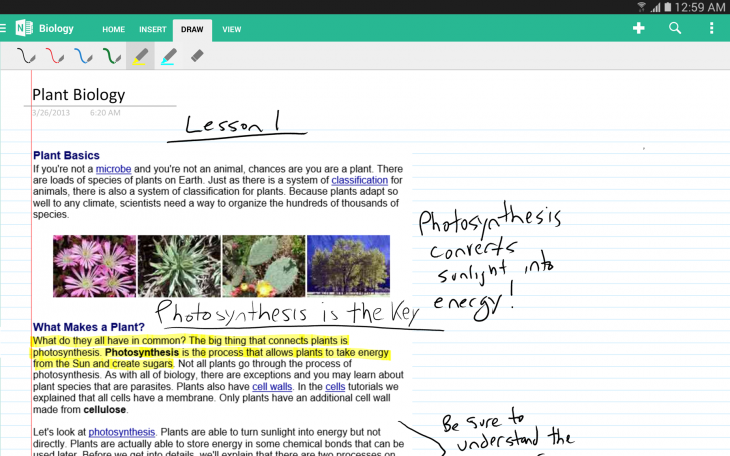 Inking with OneNote 2 1 730x456 Microsoft updates OneNote for Android with support for tablets, handwriting, and new formatting options