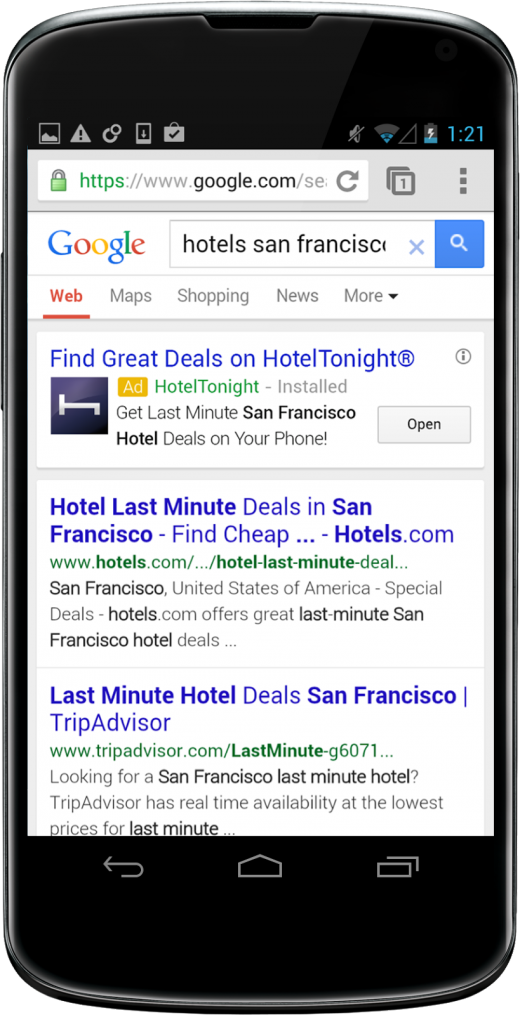 Nexus 4 Artemis 520x1015 Google now offers targeted mobile app install ads in Search and YouTube, deep linking for installed apps