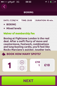 Photo 25 08 2014 09 33 04 220x330 Bored of the gym? This iPhone app gives Londoners a curated choice of quirky fitness classes