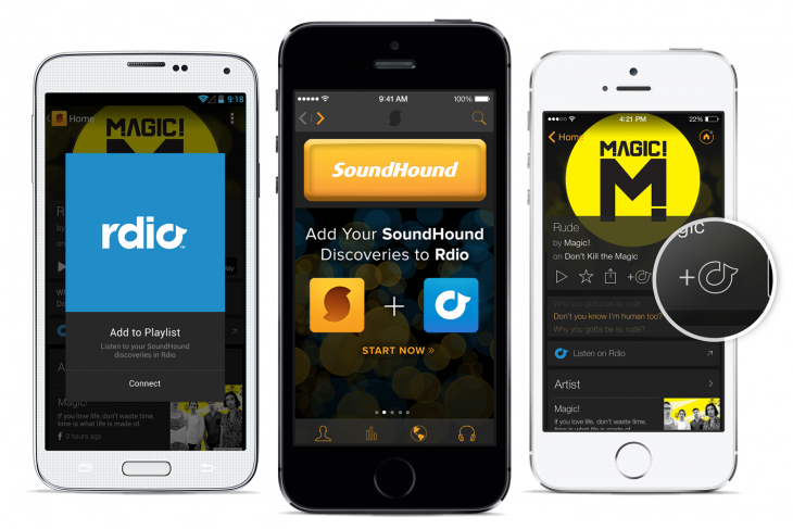 Rdio Soundhound 730x487 SoundHound now lets you add music discoveries into an Rdio playlist in app