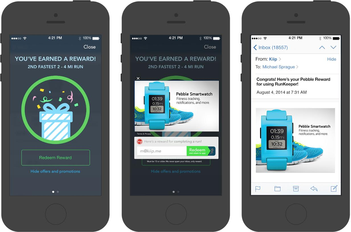 RunKeeper rewards RunKeeper and Kiip team up to offer you discounts and freebies just for working out