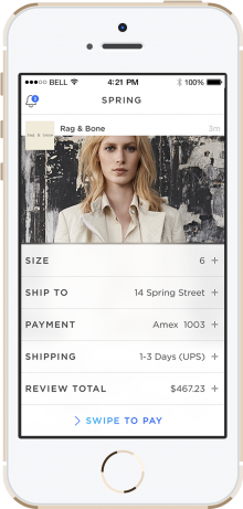 Spring Screenshot Checkout 220x461 TechStars NYC co founder launches Spring, a brand backed mobile marketplace