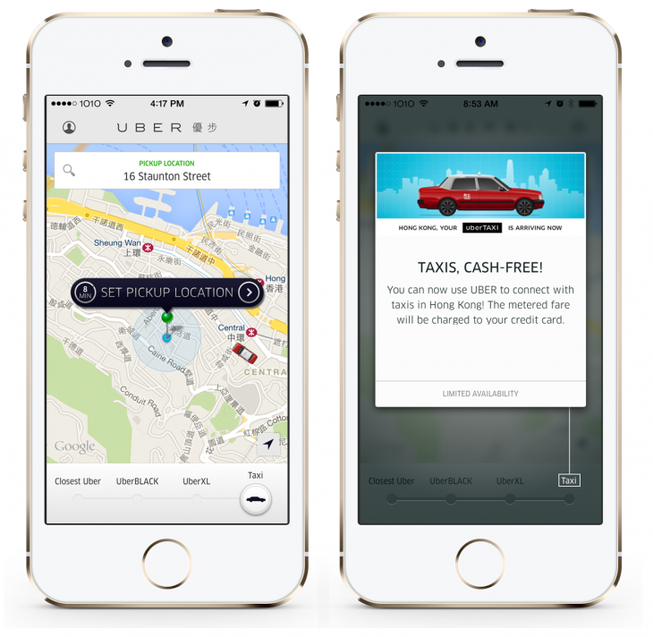 Uber Taxi HK 730x712 Uber pits itself against taxi booking apps with launch of uberTAXI in Hong Kong