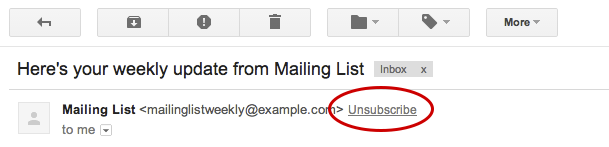UnsubscribeLink Gmail now surfaces Unsubscribe links to the top of emails