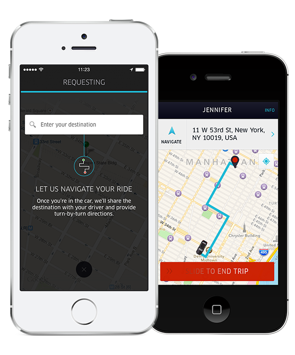 destination phone comp 2 Uber adds turn by turn navigation to its driver app, and destination entry to its passenger app