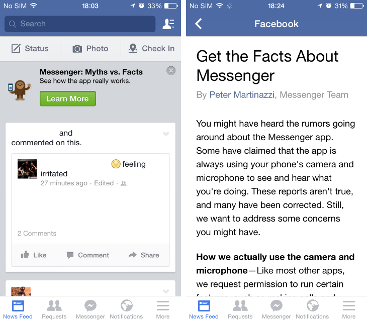 facebook1 Facebook responds to Messenger backlash with Get the Facts explainer in its mobile app