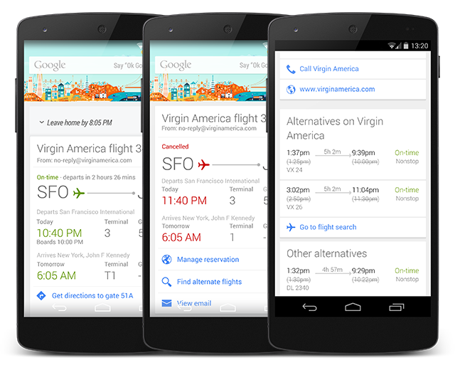 flight alternatives stacked Google Now for Android updated to help you book alternate flights when yours is delayed or canceled