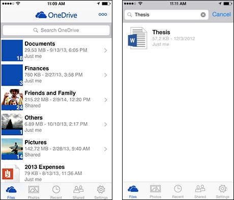 iOS1 Microsoft integrates OneDrive for Business into main OneDrive for Android app, iOS app gets native search