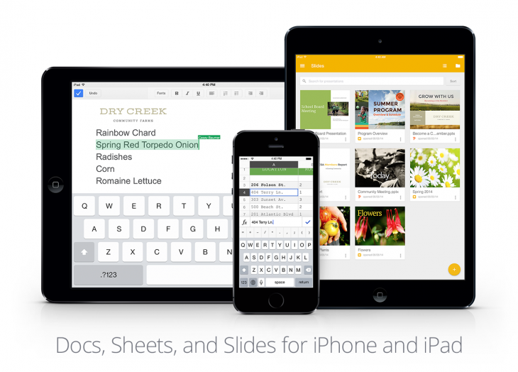 iOS shots forBlog 730x524 Google releases Slides for iOS, updates Sheets and Docs apps with Microsoft Office editing