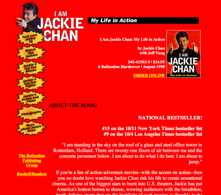 jackie chan biography 730x644 Интернет без Drupal, WordPress и Joomla — каким он был?