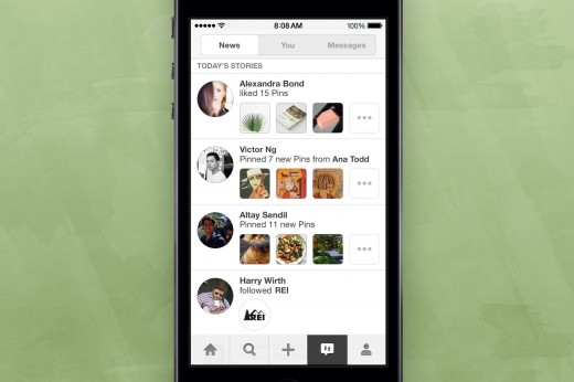 pinterest 520x346 Pinterest is testing a News section on iOS to show you what other pinners are up to
