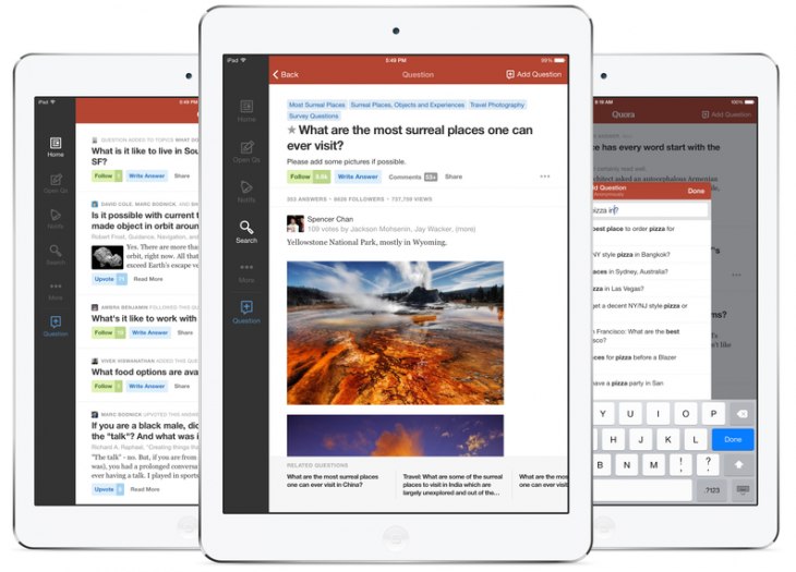 quora ipad3 730x525 Quora releases an iPad app and a redesigned text editor