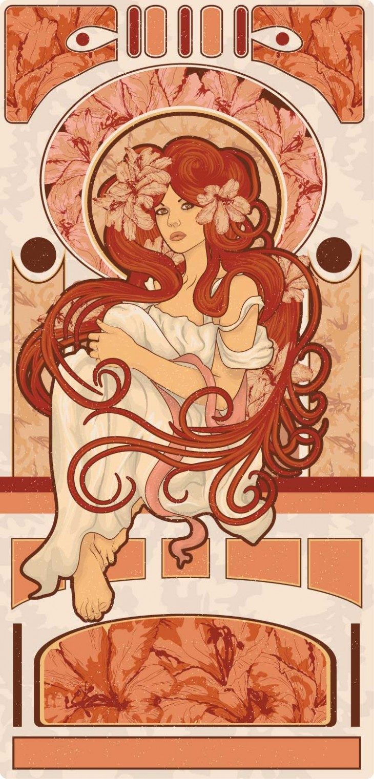 shutterstock 82847218 730x1521 5 contemporary illustrators pay homage to art nouveau