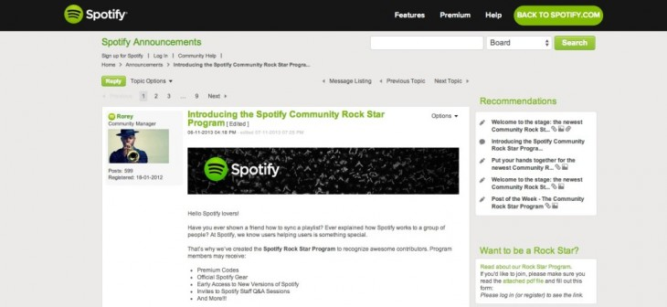 spotify community 1024x472 730x336 The guide to choosing the right platform for your online community