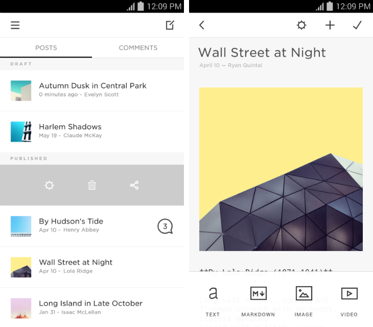 squarespace2 Squarespace releases two Android apps, Note and Blog, to help customers manage their sites