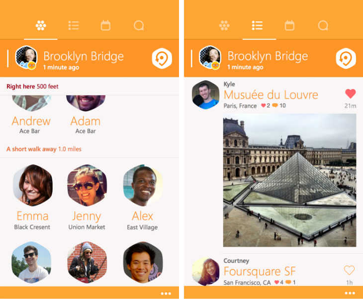 swarm1 Foursquare brings its Swarm check in app to Windows Phone