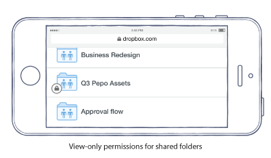 vopsf caption Dropbox for Business gets view only permissions for shared folders, passwords and expirations for shared links